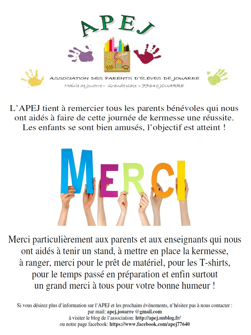 Préférence APEJ – Association des Parents d'Elèves de Jouarre » 8. KERMESSES YP33